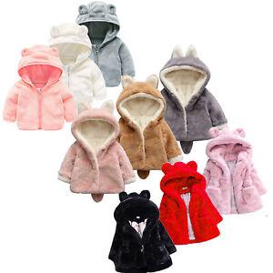 fe63df1f0282 Baby Girls Hooded Coat Jacket Kids Warm Fleece Fur Hoodies Tops ...