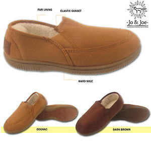74cae9a6d33 mens faux suede moccasin slippers fur lined fleece winter warm loafer ...
