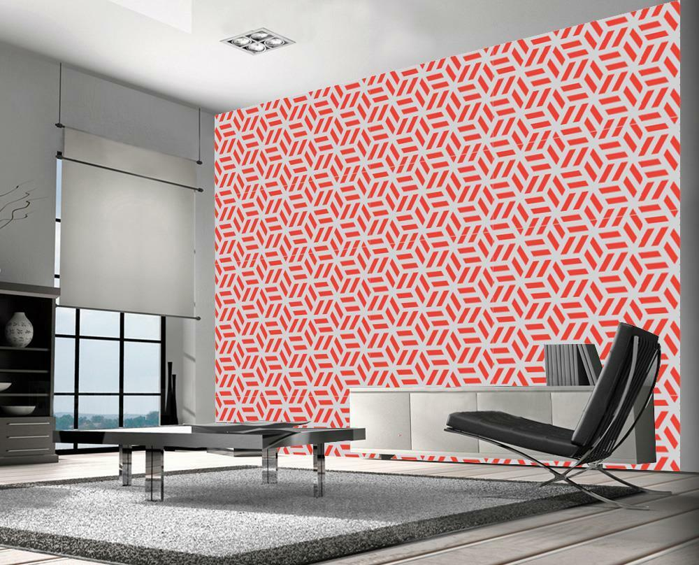 Geometric Cubes Design Pattern Wallpaper Woven Self-Adhesive Wall Art Mural T27