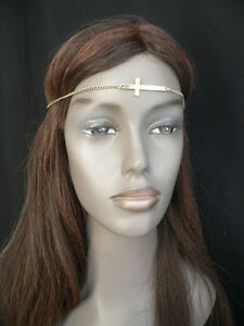 NEW-WOMEN-GOLD-METAL-CROSS-HEAD-BAND-CHAIN-GRECIAN-CIRCLET-FASHION-JEWELRY