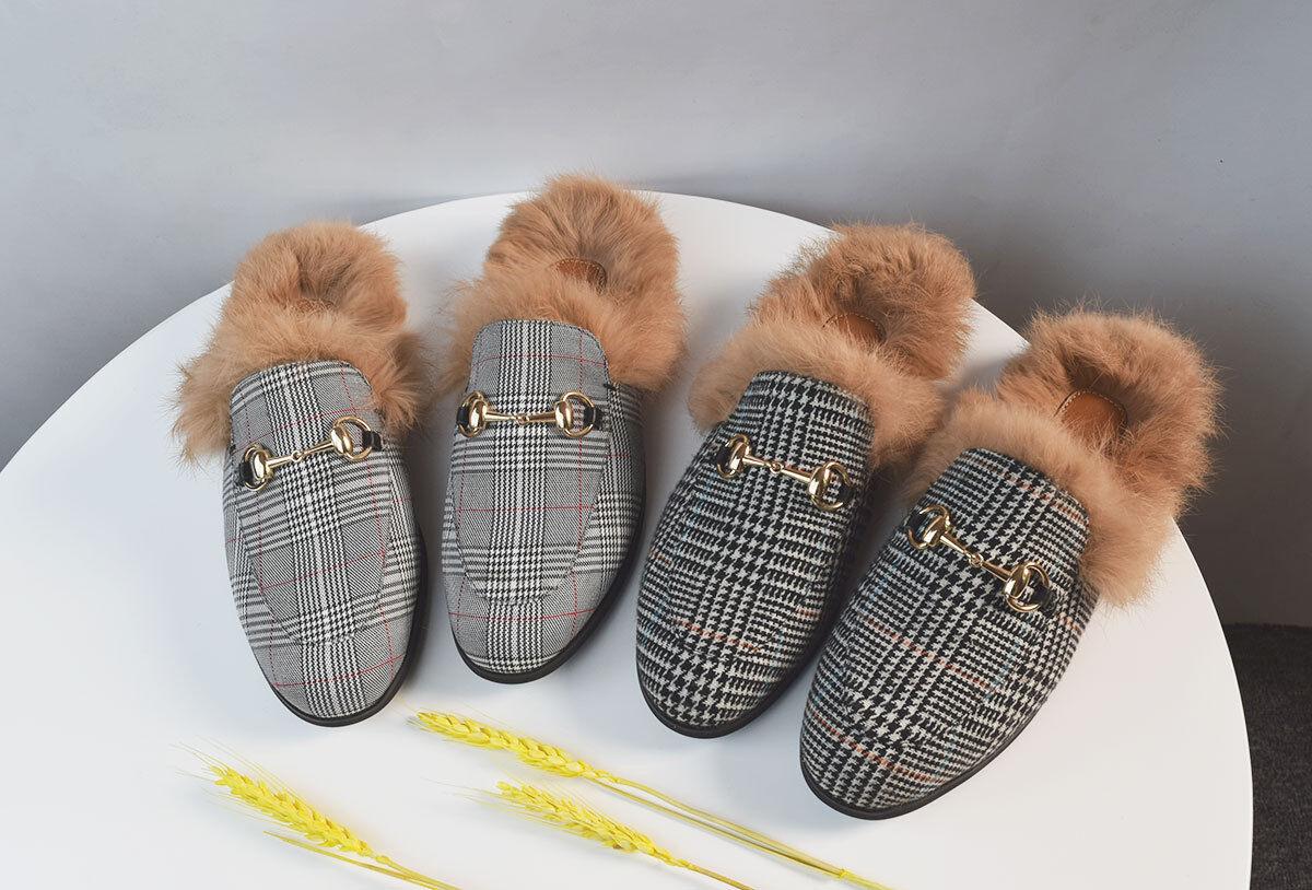 Para Hombre rejillas Rabbit Piel Forrada Plana Freno Zapatos Casuales Zapatillas tipo mocasín