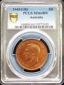 Australia-George-VI-Penny-1943-I-b-PCGS-MS64-Brown-Gold-Shield
