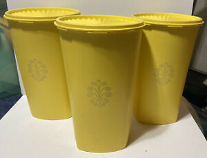 Lot-of-3-1222-5-Tupperware-Large-Tall-Servalier-Yellow-Canister-Lids-10-5-034-x-6-5