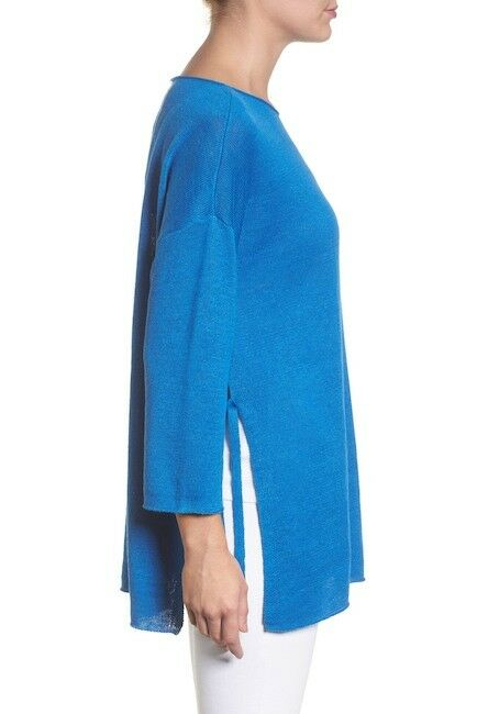 NEW Eileen Fisher Side Side Side Tie Organic Linen Sweater in Turquoise - Size XS feb4bc