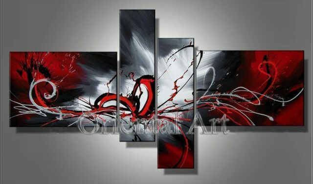 Framed!!! Handmade Modern Wall Art Set Abstract Huge Oil Painting On Canvas+GIFT