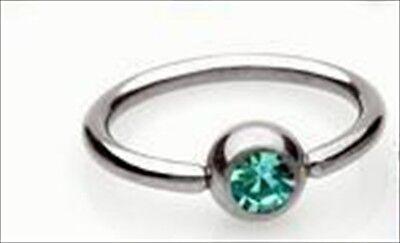 "Gem CZ Captive Bead Ring 16g  3/8"" Lip Tragus Ear Aqua Cartilage Earring"