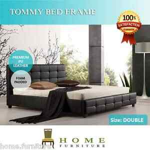 BRAND-NEW-Double-Queen-King-size-BLACK-PU-Leather-Upholstered-Bed-Frame-TOMMY