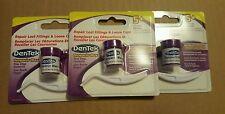 3 x DENTEK Tooth Filling 5+ Repair Kit Temparin Max Pain Reliever Teeth Caps