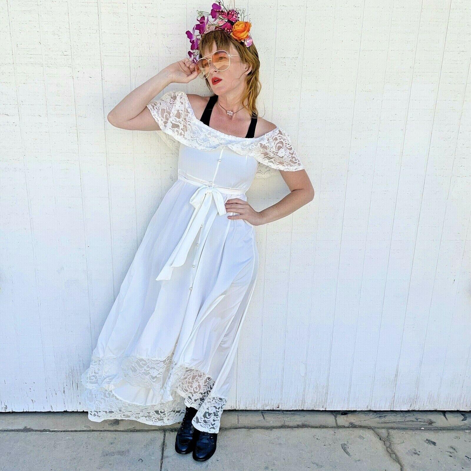 Vintage White Lace Gown Wedding Lingerie Prairie … - image 1