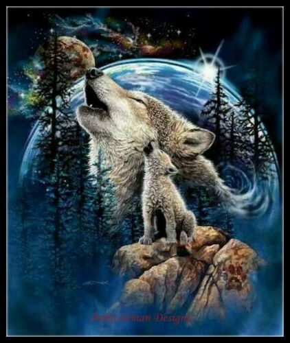 Harmony of Wolves Color Symbols Charts DIY Counted Cross Stitch Patterns