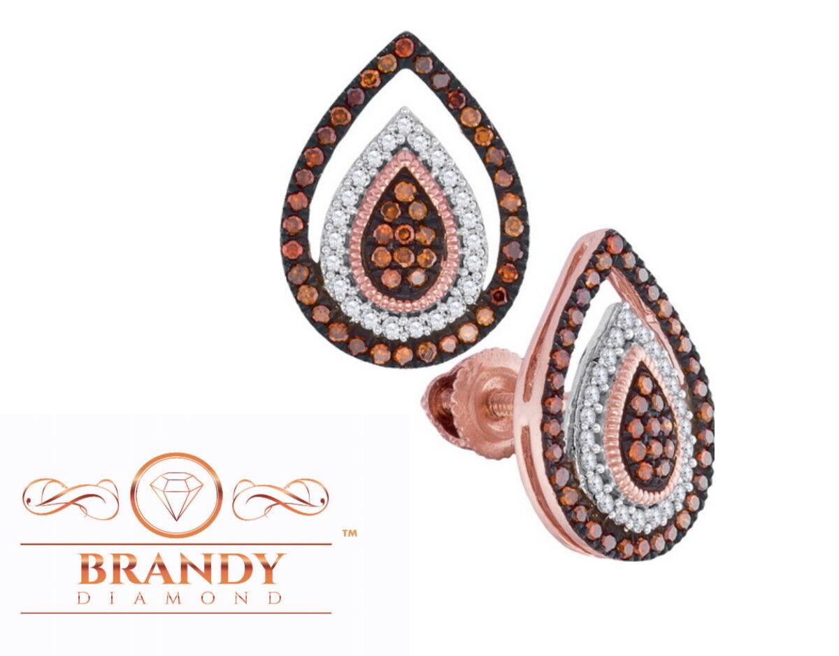 Brandy Diamond® Chocolate Brown 10K pink gold Triple Teardrop Earrings .35Ct