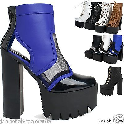 New Women Lace Up Chunky High Heel Platform Pump Boots Cleated Sole Open Shoes