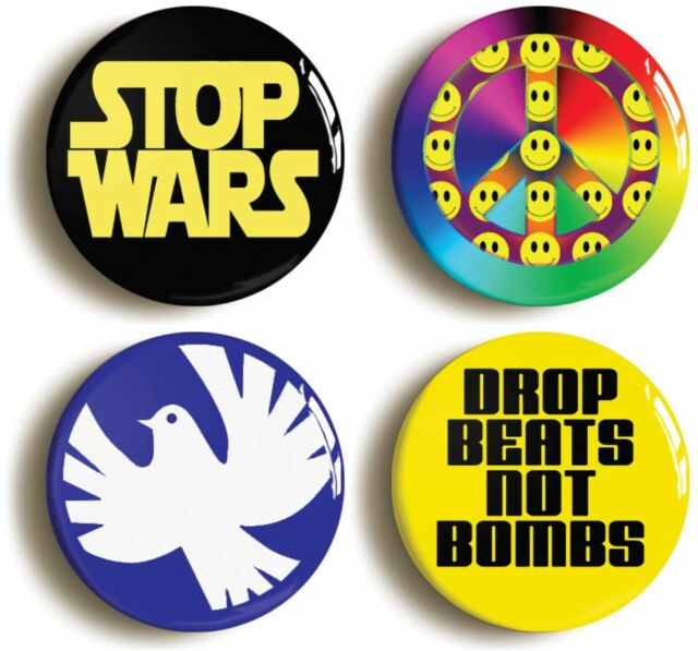 PEACE BADGE BUTTON PIN SET (Size is 1inch/25mm diameter) ANTI WAR PROTEST CND