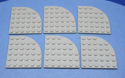 LEGO 6 x Platte Viertel althell grau Light Gray Plate Round Corner 6x6 6003