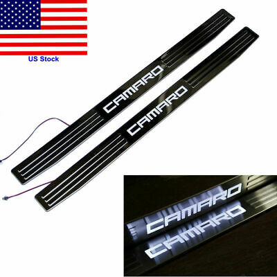 Stainless LED Light Door Sill Plate Guard Cover For Chevy Chevrolet Camaro 10-15