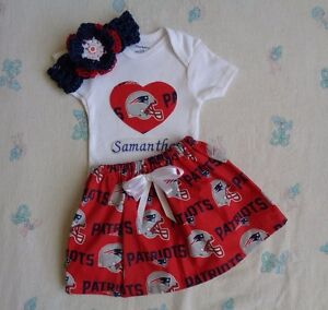 best authentic d992e b48e8 Details about New England Patriots Baby Girl Skirt, Personalized Bodysuit  and Headband.