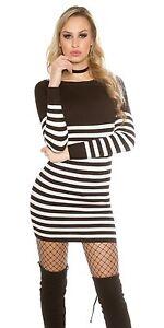 Sexy langarm Kleid Minikleid mit Streifen Knöpfe gestreift ...