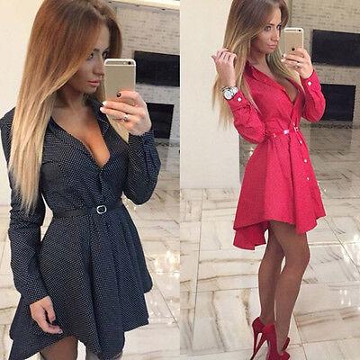 Women Long Sleeve Lapel Turn-Down Collar Plaids Mini Dress Casual Shirt Dress HG