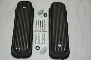 Details about BLACK Aluminum BIG BLOCK Chevy Tall Finned Valve Covers BBC  396 427 454 502