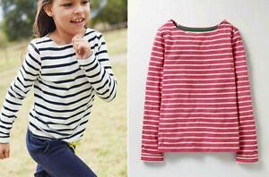 Mini-Boden-Breton-y-Ninas-de-Algodon-a-Rayas-Blanco-Rosa-Top-Blusa-Camiseta-2-16-anos