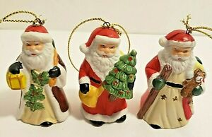 3 Small Santa Ceramic Ornaments 2 3/4 inches Tall
