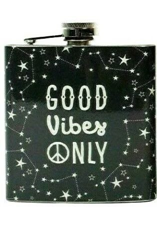Hip Flask GOOD VIBES ONLY Stainless Steel Mans Gift Dad Present Stocking Filler