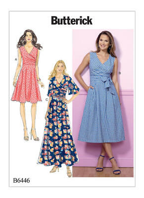 Butterick Sewing Pattern 6446 Misses 14 22 Easy Pleated Wrap Dresses Sash Maxi 31664470212 | eBay