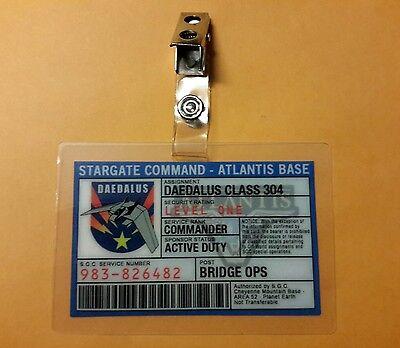 Stargate Command Atlantis ID Badge - Commander Bridge Ops cosplay costume prop