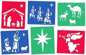 6-Piezas-Navidad-Natividad-de-plantilla-de-conjunto-para-la-nieve-Spray-sabios-manger-Angel-Estrella