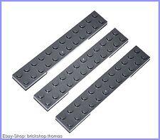 Lego 3 x Platte (2 x 12) - 2445 Dark Bluish Gray - dunkles Blaugrau - NEU / NEW