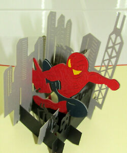 Pop-Up-3D-Greeting-Card-Spiderman-w-envelope-6-x-6-Birthday-Fathers-Day-Friend