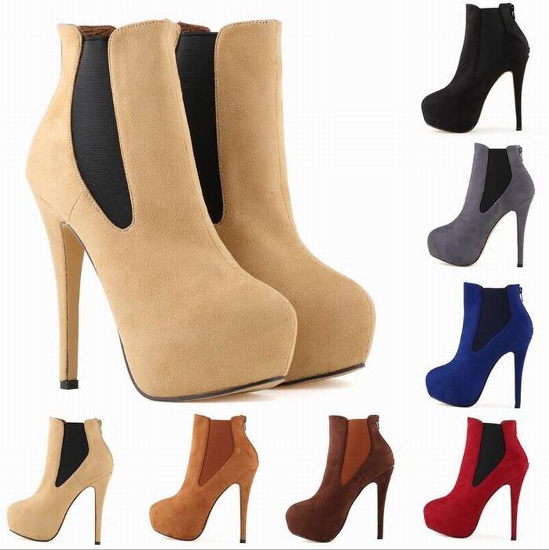 Femmes Plateforme Stiletto haut talon Bottines en Daim Synthétique À Enfiler Mariage chaussures