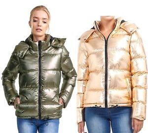 3335a863612 Details about Womens Brave Soul Metallic Sliver Rose Gold Padded Puffer  Hooded Jacket Coat