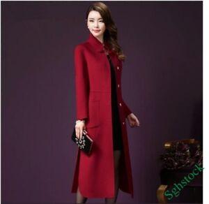 Womens Winter Wool Coat Long Warm Fur Lapel Outwear Jacket Button Camel Slim Fit
