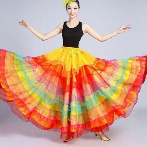 Damen Mehrlagig Tanzrock Rainbow Spanische Rüschen Ballsaal Flamenco Kostüm