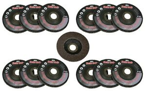 "10pc 60 Grit Flap Sanding Grinding Disc 4 1/2"" x 7/8"" Aluminum Oxide A/O NEW"