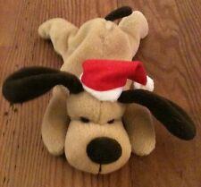 Russ Brown Dog Plush With Santa Hat