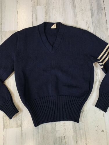 Vintage 1950s Varsity Sweater Navy Blue w/ White S
