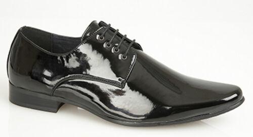Hommes noir formelle chaussures à lacets robe de mariée verni bout pointu danse brillant neuf