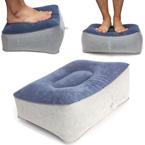 Inflatable-Travel-Leg-Up-Foot-Rest-Footrest-Pillow-Recliner-Cushion-Blue-Grey-US
