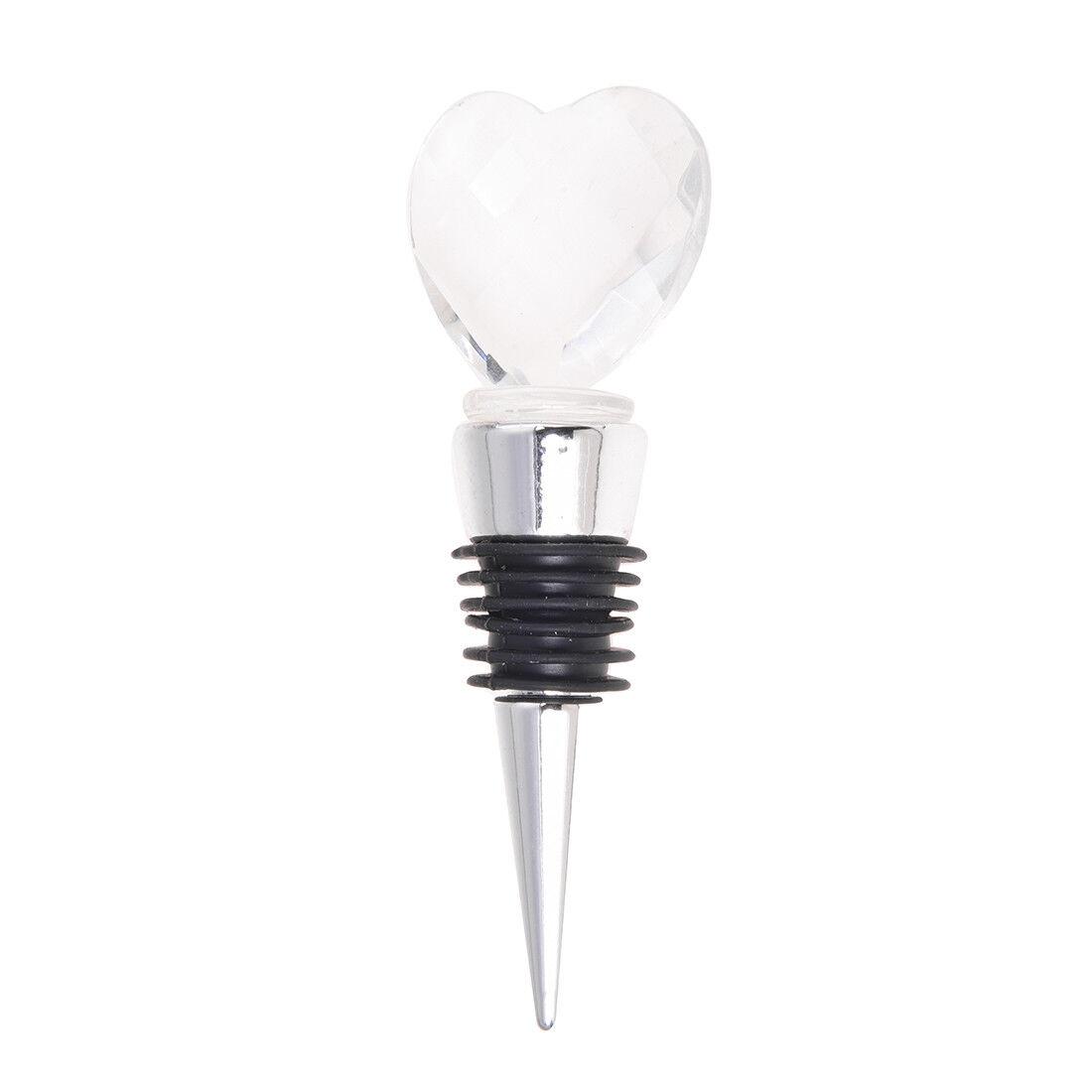 Chrome Bottle Stopper With Crystal Heart Wedding Favors 1 M6j6 | eBay
