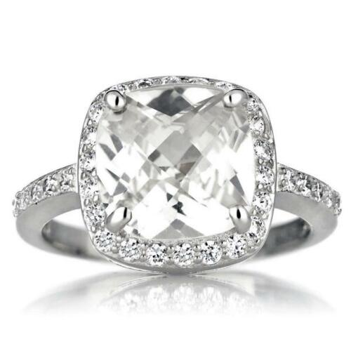 4 TCW .925 Silver Cushion Cut Halo CZ Wedding Engagement Cocktail Ring Size 5