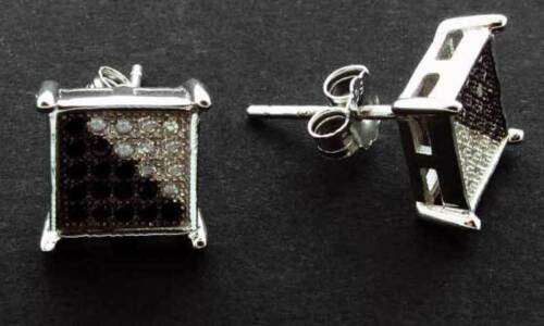 STERLING SILVER SQUARE CUBIC ZIRCONIA CZ PAVE KITE STUD EARRINGS SINGLE OR PAIRS