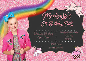 personalised siwa jojo bows girls birthday party invites with