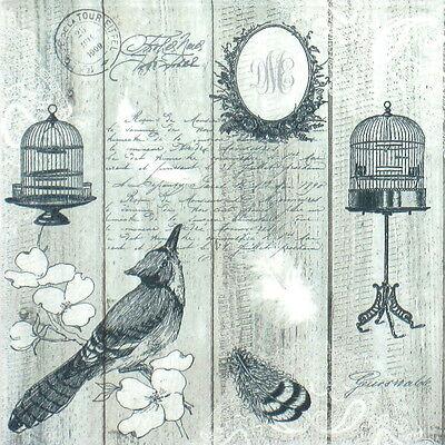 20x Lunch Paper Napkins Serviettes Party, Decoupage - Black Bird