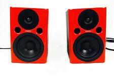 TWO FOSTEX PM0.4n POWERED STUDIO MONITOR SPEAKERS PMO.4n PM0 4N RED