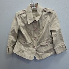 DKNY DONNA KARAN NEW YORK Women Khaki Jeep Safari Military Logo Coat Jacket - M