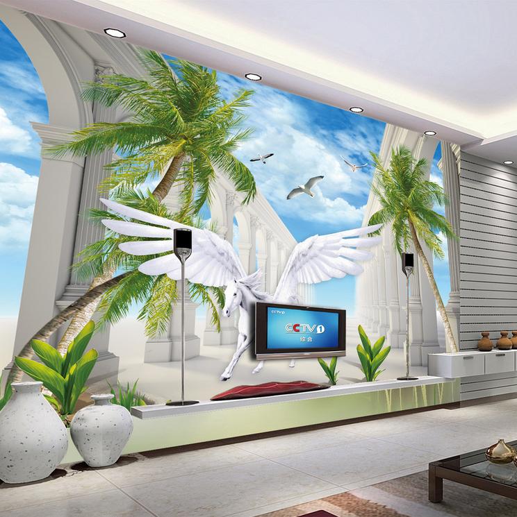 3D Blau Sky Pegasus Tree938 Wallpaper Mural Paper Wall Print Wallpaper Murals UK