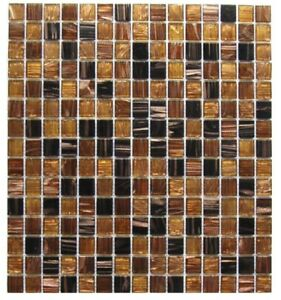 Details About Brown Gold Black 12 X Gl Mosaic Wall Tile Backsplash Kitchen Pool Bath