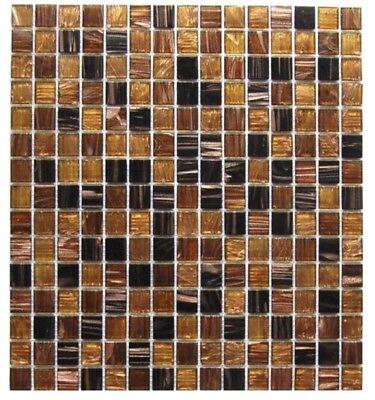 Brown Gold Black 12 x 12 Glass Mosaic Wall Tile Backsplash Kitchen Pool  Bath   eBay